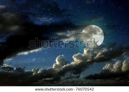 Illustration of an interesting full moon in a starry night with some clouds - stock photo