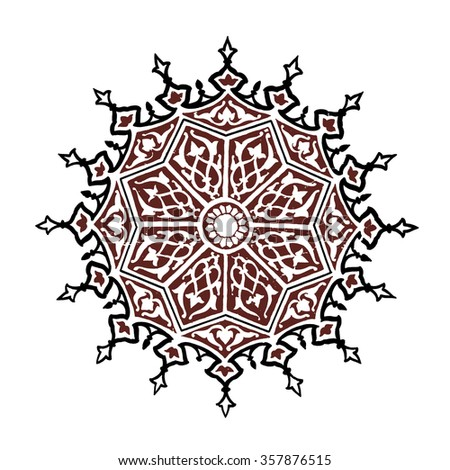 Illustration of an Islamic ceiling decoration from the beyazit camii mosque in Istanbul, Turkey. - stock photo