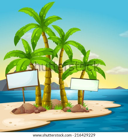 Illustration of an island with signboards - stock photo