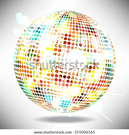 Illustration of an isolated glowing disco ball with space for text