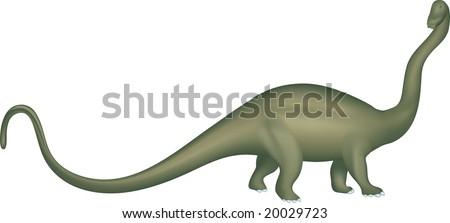 Illustration of an isolated plant-eating dinosaur