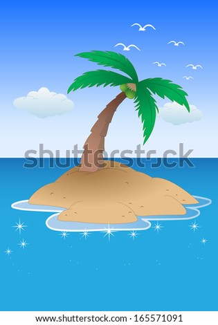 illustration of an isolated tropical island with palm tree on sea background - stock photo