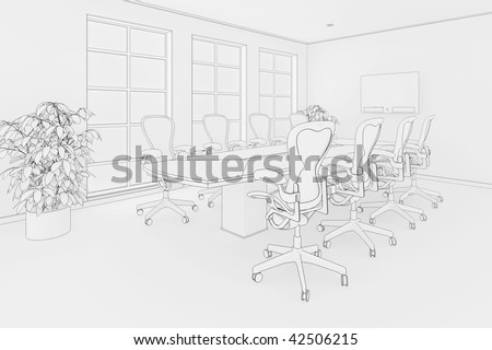 Illustration of an office or boardroom interior in a blueprint style - stock photo