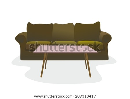illustration of an old couch with coffee table