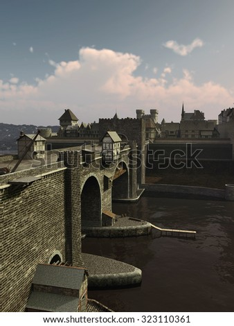 Illustration of an old European Medieval bridge with gatehouse and half-timbered buildings, leading across a quiet river to the old town, 3d digitally rendered illustration - stock photo