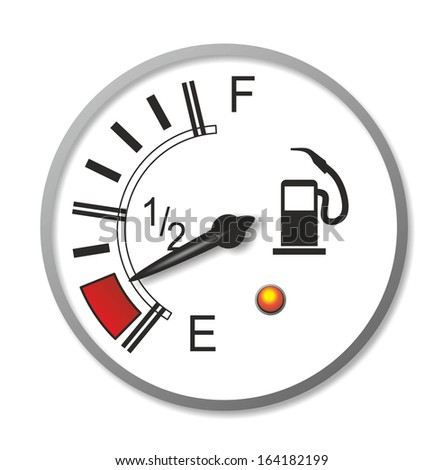 illustration of an old-fashioned fuel gauge with analogue needle