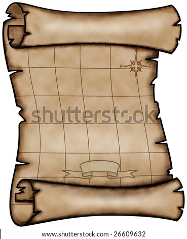 Illustration of an old pirate map - stock photo