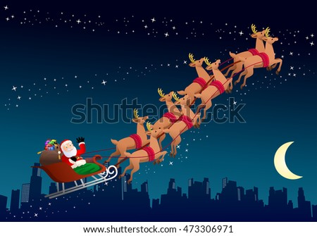 illustration of an old santa claus riding his sleigh on city night background
