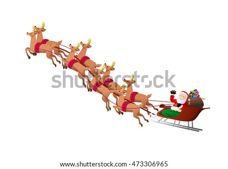 illustration of an old santa claus riding his sleigh on isolated white background