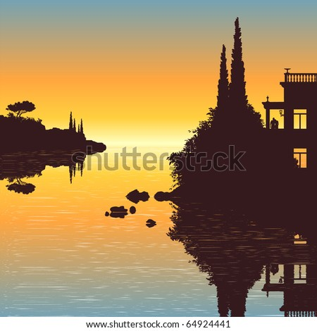 Illustration of an old villa with a view to the sea in the sunset