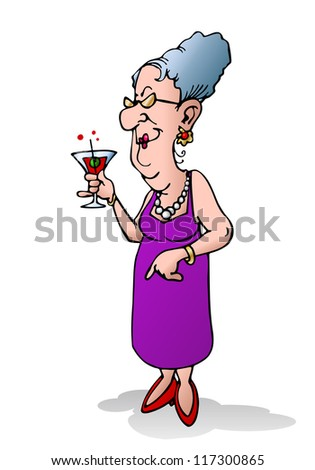 illustration of an old woman alone holding beverage on isolated white background - stock photo