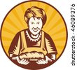 illustration of an old woman presenting a freshly baked loaf of bread set inside a circle. - stock photo
