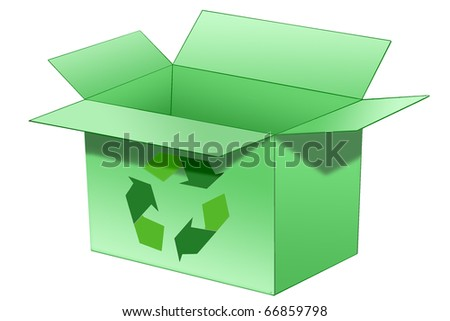 Illustration of an open green cardboard box with a recycle symbol on it.