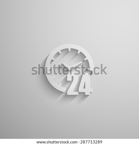 illustration of an open 24 hours a day 3d paper icon with long shadow - stock photo