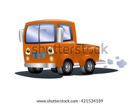 illustration of an orange pick up car on isolated white background - stock photo