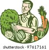 Illustration of an organic farmer green grocer with leafy green vegetables crop farm harvest done in retro woodcut style. - stock photo
