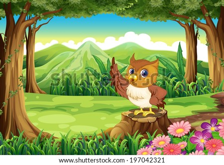 Illustration of an owl at the forest - stock photo