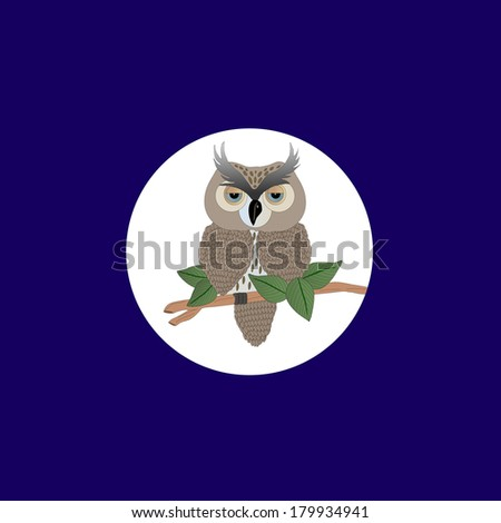 Illustration of an owl sitting on a branch with a white circle behind and dark blue canvas./Owl - stock photo