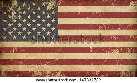 Illustration of an rusty, grunge, aged American flag. - stock photo
