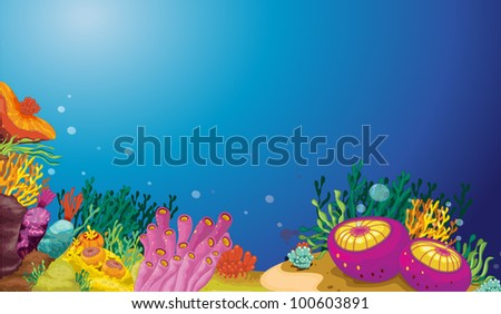 Illustration of an underwater scene - EPS VECTOR format also available in my portfolio. - stock photo
