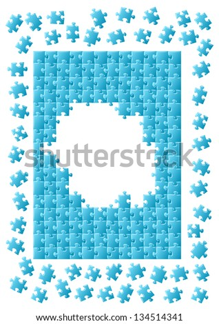 illustration of an unfinished jigsaw Puzzle - stock photo