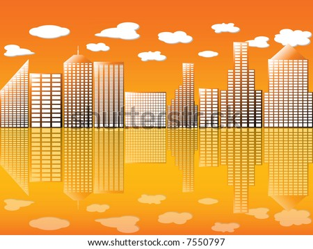 Illustration of an urban view with reflection - stock photo