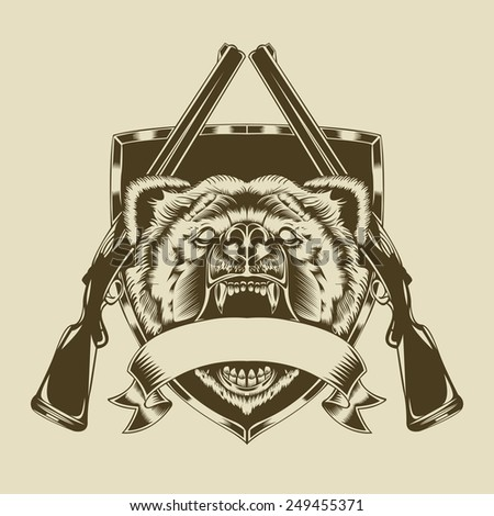 Illustration of angry bear head with weapons. - stock photo