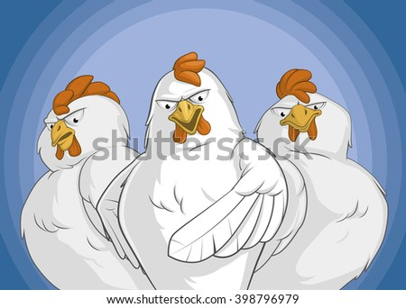 Illustration of angry chickens group with a lead pointing front - stock photo