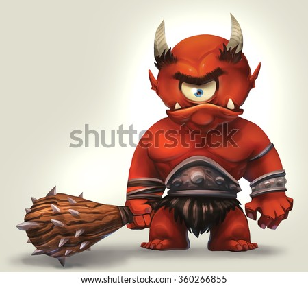 illustration of angry cyclops monster - stock photo