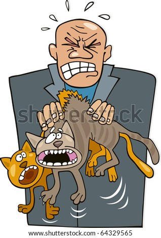 Illustration of angry man with rude cats