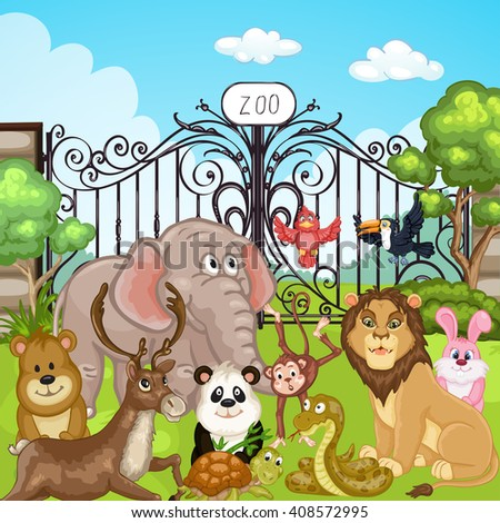 Illustration of animals at the Zoo