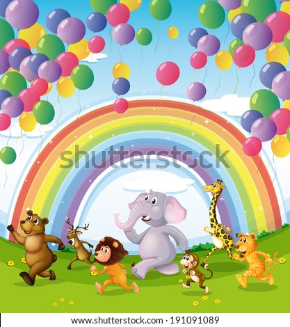 Illustration of animals racing below the floating balloons and rainbow - stock photo