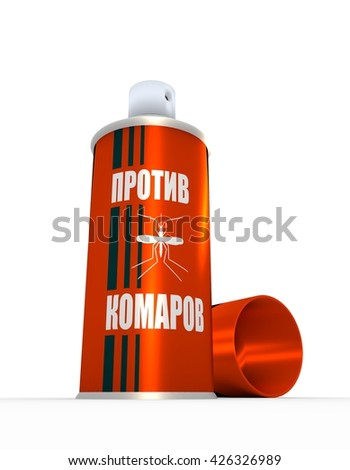 Illustration of anti-mosquito - russian language - spray with cap, over white background. 3D rendering. Metallic painting label.