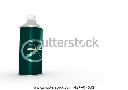 Illustration of anti-mosquito spray without cap, over white background. 3D rendering. Metallic painting label. Mosquito spray text. - stock photo