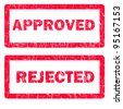 illustration of approved and rejected rubber stamps isolated over a white background - stock photo