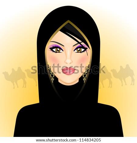 Illustration of arab woman in the desert - stock photo