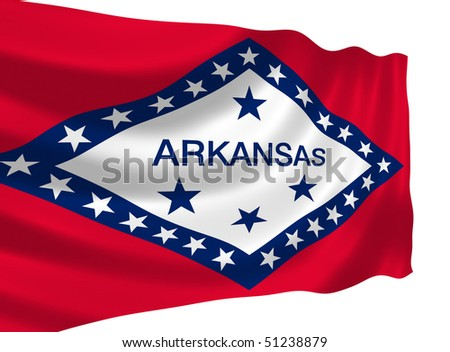 Illustration of Arkansas state flag waving in the wind (see more other flags in my collection) - stock photo
