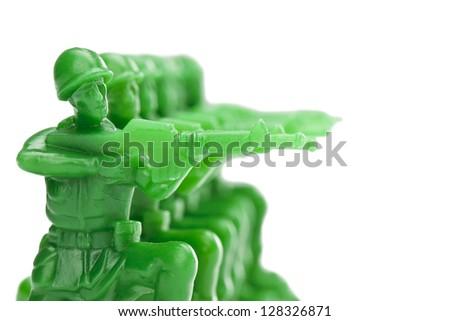 Illustration of Army men ready to shoot - stock photo