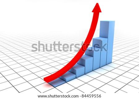 Illustration of arrow directed upwards as success - stock photo