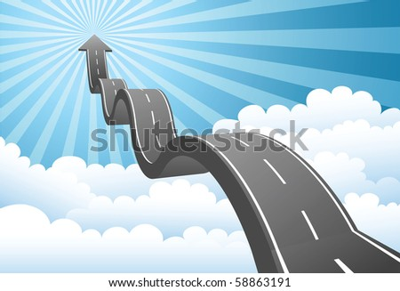 Illustration of arrow road to the sky through the cloud - stock photo