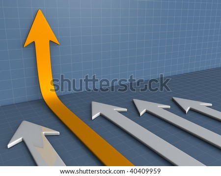 Illustration of arrows on business diagram chart - 3d render