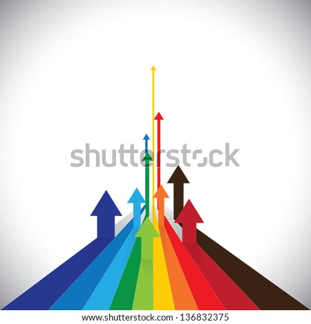 Illustration of arrows showing some winners and some losers. This colorful graphic can also represent sales of competitors or employee performances or asset performance, etc - stock photo