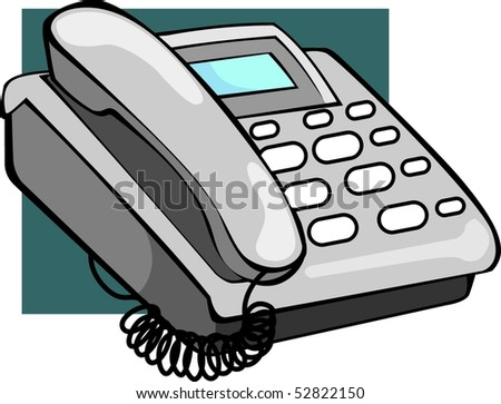 Illustration of ash coloured telephone with display - stock photo