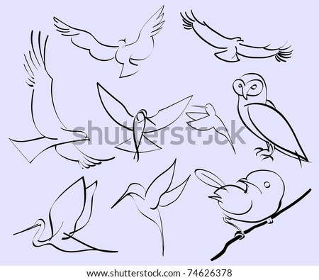 illustration of assorted abstract birds - stock photo