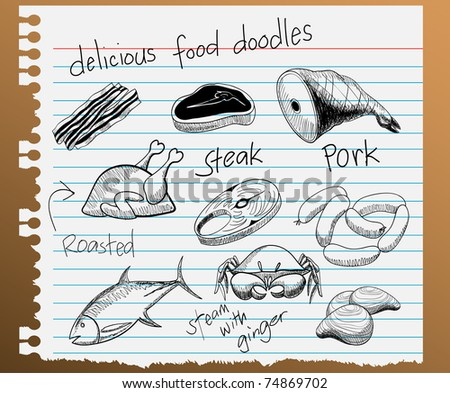 illustration of assorted food doodles - stock photo