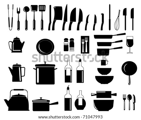 illustration of assorted kitchen utensil silhouettes