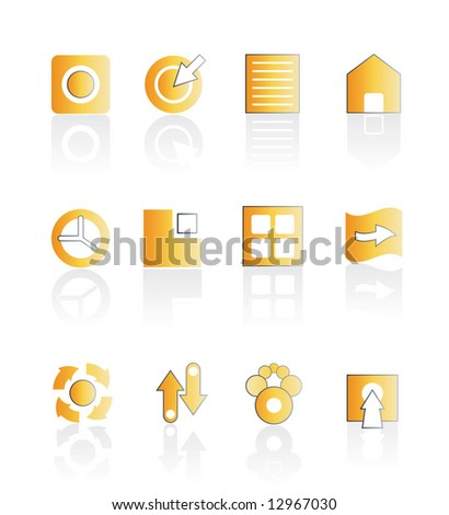 Illustration of assorted web icons in orange color with shadow. Stylized and modern. Easily editable. - stock photo