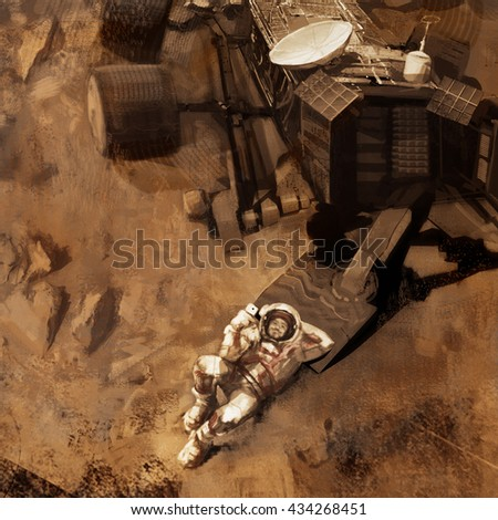 Illustration of astronaut in space. Astronaut on Mars. Astronaut in a spacesuit beside the rover on Mars.