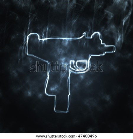 illustration of automatic gun in the smoke - stock photo