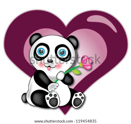Illustration of baby panda with flower in his hand and heart in background - stock photo